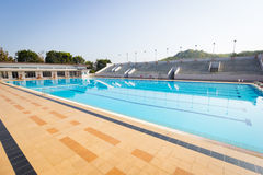 Empty swimming pool in sunny day, wide shot, horizontal Royalty Free Stock Image