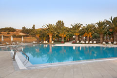 Empty swimmingpool with palmtrees Stock Images