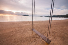 Empty swing on the beach Royalty Free Stock Images