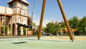 Empty swing with chains stock footage
