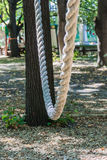 Empty swing at the playground in the city. White rope Stock Images