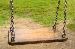 Empty swings. The Lost Child. stock photo