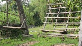 Empty swings swaying at backyard. Stock video stock video