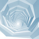Empty swirl tunnel interior perspective, 3d. Abstract blue toned square cg background with empty swirl tunnel interior perspective, 3d illustration Royalty Free Stock Photo