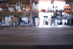 Empty table background blur interior. Of the restaurant Royalty Free Stock Photo