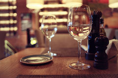 Empty table background. Blur interior of the restaurant Stock Images