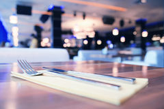 Empty table background. Blur interior of the restaurant Stock Image