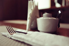 Empty table background. Blur interior of the restaurant Royalty Free Stock Image
