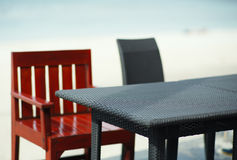Empty table on the beach Royalty Free Stock Photo