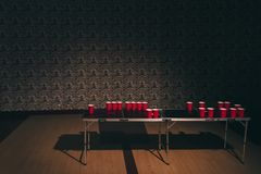 Beer pong table stock photo