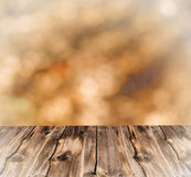 Empty table with blur landscape background, for product display template Royalty Free Stock Image