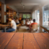 Empty table and blurred people in cafe , product displ Stock Images