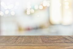 Empty table board and defocused bokeh lights background. product display and picnic concept.  Royalty Free Stock Photography