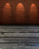 Empty table and brick wall. In background with three spotlight Stock Photos