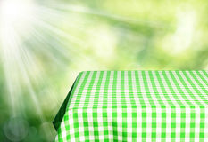 Empty table. And defocused fresh green background Royalty Free Stock Photos