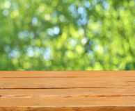 Empty table. And defocused fresh green background Stock Image