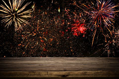 Empty table in front of fireworks background. Product display montage Royalty Free Stock Images