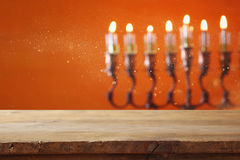 Empty table in front of jewish holiday Hanukkah background Stock Photography