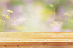 Empty table in front of spring flowers background Stock Image