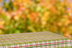 Empty table with a green checkered cloth in the autumn garden. Blurred background. Stock Photo