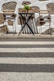 Empty table outside local cafe royalty free stock photos
