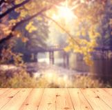 Empty table over blurred trees and river as background, product display template royalty free stock photo