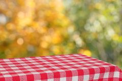 Empty table with a red checkered cloth in the autumn garden. Blurred background. Bright autumn colors in the garden and an empty table. Free place for Royalty Free Stock Image