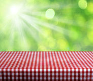 Empty table. With red gingham tablecloth over green bokeh background. Great for product display montages Royalty Free Stock Photo