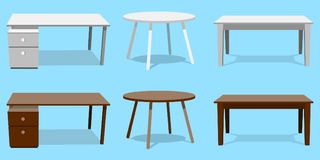 Empty Table Set Vector. Wooden, Plastic, White, Black. Isolated Furniture, Platform. Template For Object Presentation Stock Image