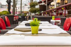 Empty table - street restaurant in Brugge, Belgium Stock Photo