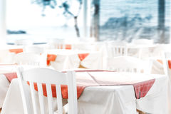 Empty table at an street sea restaurant Royalty Free Stock Photos