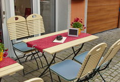 Empty table on the streets of Bernkastel-Kues in Germany Stock Photos