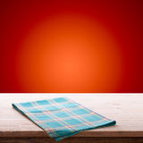 Empty table and tablecloth. Holiday background. Stock Images