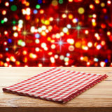 Empty table and tablecloth. Holiday background. royalty free stock photography