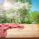 Empty table and tablecloth. Nature background outdoors. stock images