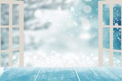 Empty table top winter background. Empty rustic wooden table top stock images