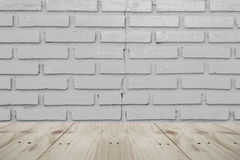 Empty table on wall background. Empty table on board  wall background Stock Photos