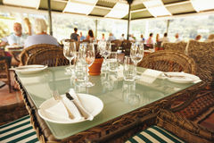 Empty table in a winery restaurant Stock Photo