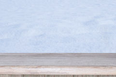 Empty table and winter background Royalty Free Stock Photos