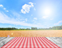 Empty table. Empty wooden table and beautiful summer landscape in background Stock Photo
