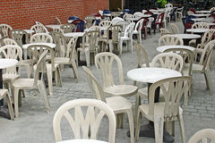 Empty Tables. At an outdoor cafe royalty free stock photography
