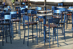 Empty Tables. At an outdoor cafe royalty free stock photos