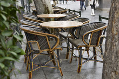 Empty tables in a cafe rainy weather Royalty Free Stock Photo