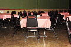 Empty Tables and Chairs At Inexpensive Restaurant Stock Images