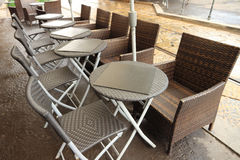 Empty tables and chairs in a outdoor cafe Stock Photography