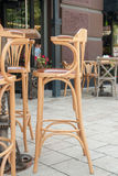 Empty tables and chairs on street cafe Royalty Free Stock Photo