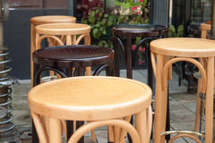 Empty tables and chairs on street cafe Royalty Free Stock Images