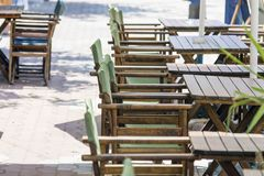 Empty tables in a Mediterranean restaurant Royalty Free Stock Photography