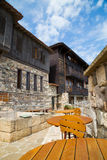 Empty tables at an outdoor restaurant, Sozopol, Bulgaria Royalty Free Stock Photography