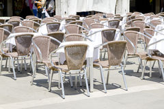 Empty tables of sidewalk cafe Royalty Free Stock Images